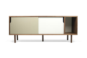Dann Sideboard Walnut Frame Pure White/matte Grey Doors Feet