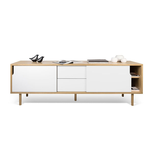 Buy Temahome 9500400933 Dann Sideboard 201 W Wood Legs Oak Pure White At Contemporary Furniture Warehouse