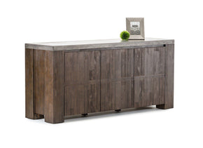 Metro Rustic Reclaimed Wood Modern Concrete Top Buffet Table Sideboard