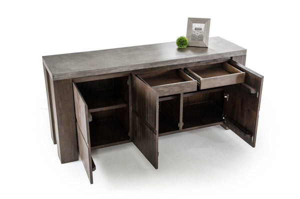 Vig furniture metro rustic reclaimed wood and concrete top for Contemporary furniture warehouse