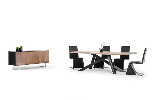 Modrest Vanguard Modern Wenge Buffet W/ Walnut Doors Sideboard