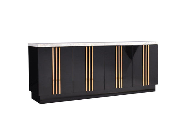 Modrest Kingsley Modern Marble & Rose Gold Buffet Sideboard