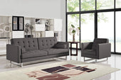 Divani Casa Bauxite Modern Grey Fabric Sofa Bed