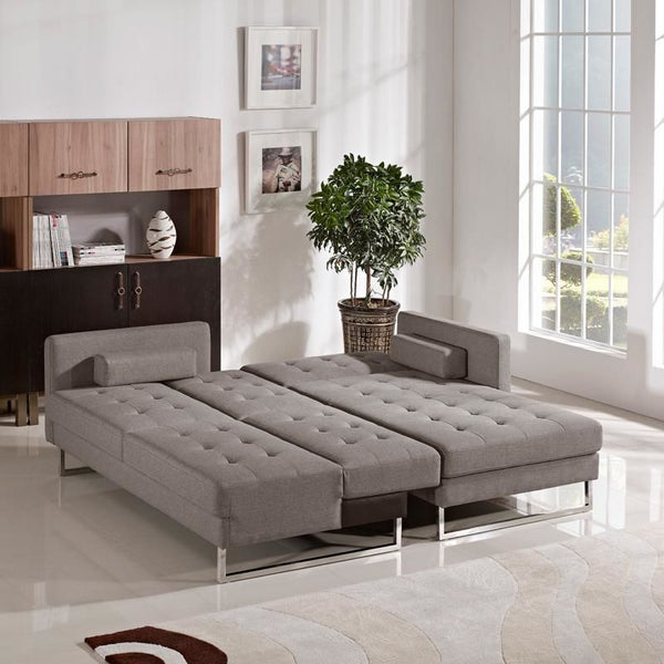 ... Divani Casa Smith Modern Brown Fabric Sectional Sofa Bed ...
