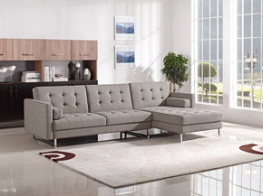 Divani Casa Smith Modern Brown Fabric Sectional Sofa Bed
