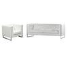 Chelsea Leatherette Sofa/Chair 2PC Set with Metal Leg - White