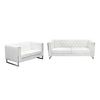 Chelsea Leatherette Sofa/Loveseat 2PC Set with Metal Leg - White