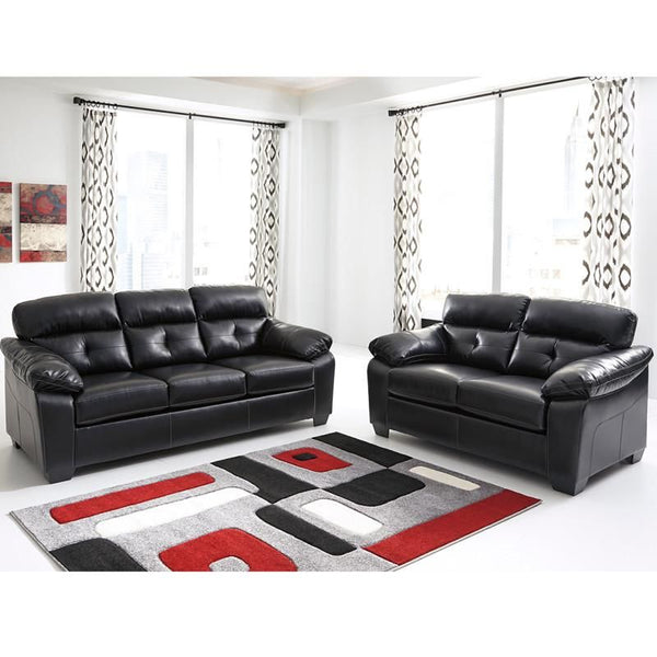 Benchcraft Bastrop Living Room Set In Midnight Durablend Black Sofa