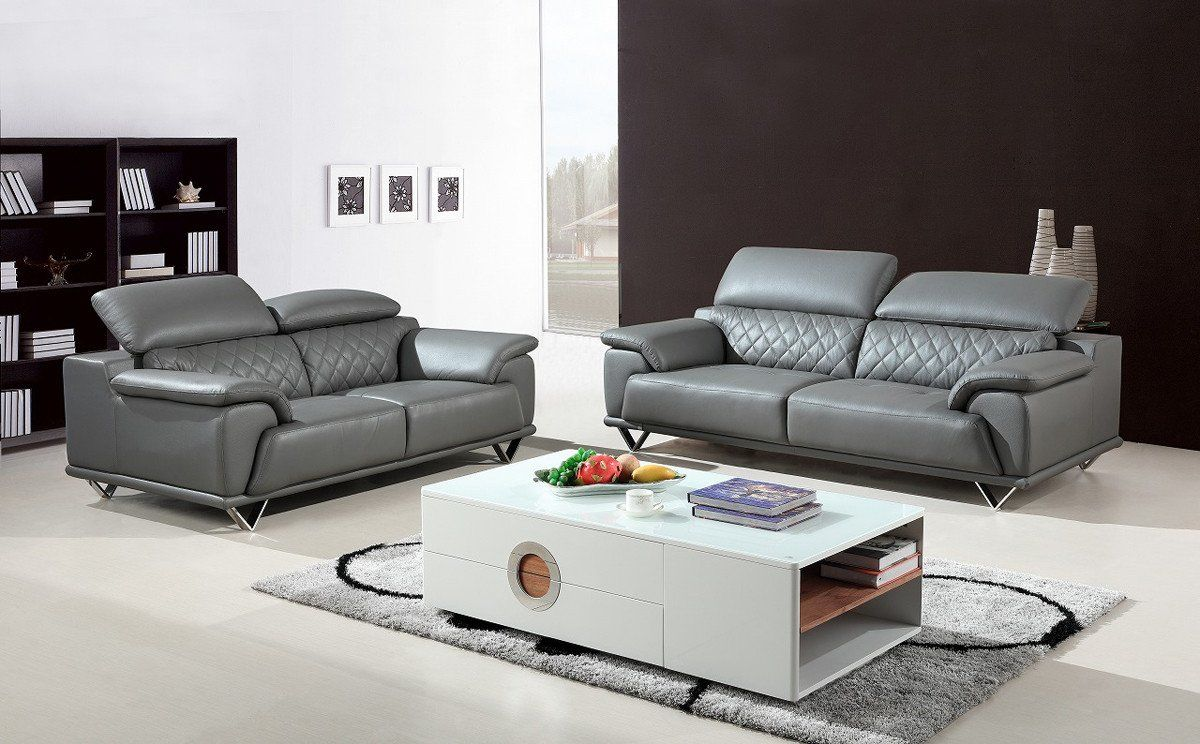 Vig Furniture VGBNSBL-9210-GRY Divani Casa Wolford Modern Grey Leather Sofa  Set sale at Contemporary Furniture Warehouse. Today only.