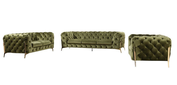 Vig Furniture VGCA1346-GRN Divani Casa Sheila Modern Tufted Green Velour  Fabric Sofa Set sale at Contemporary Furniture Warehouse. Today only.