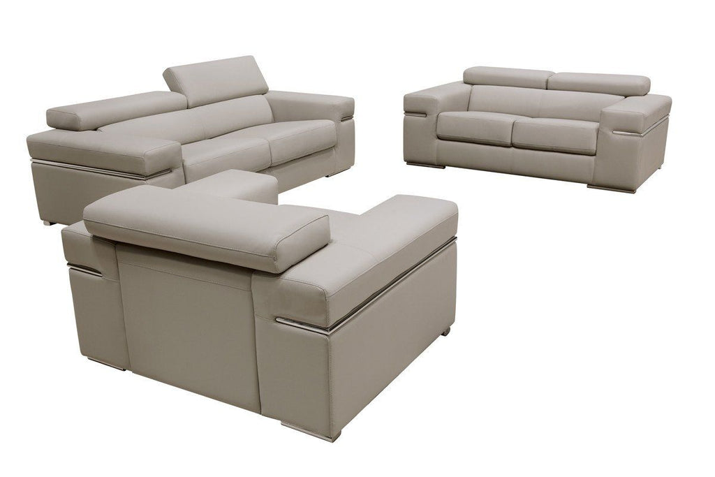 Divani Casa Atlantis Modern Light Grey Bonded Leather Sofa Set ...