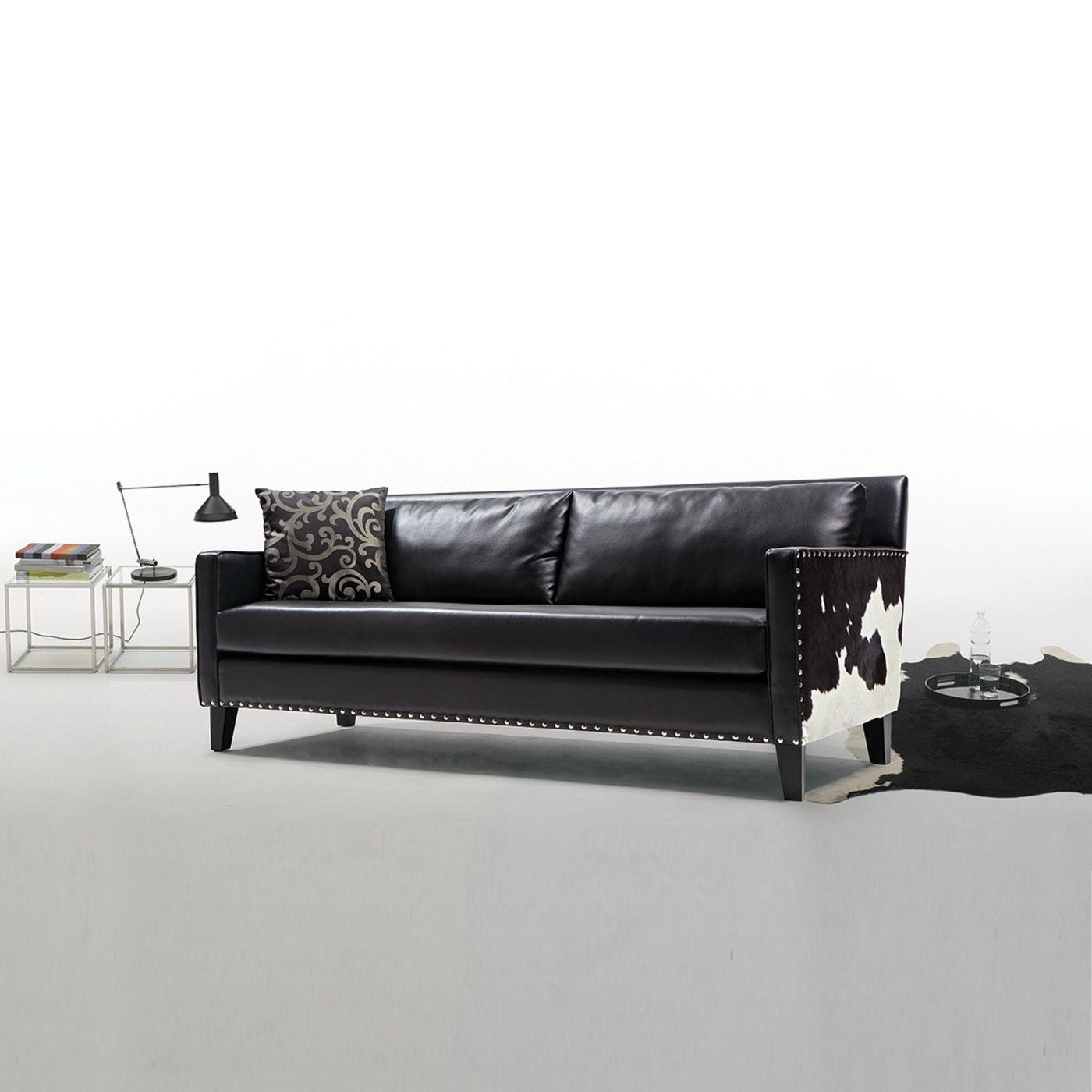 Armen Living Dallas Sofa In Black Leather and Real Cowhide Side ...
