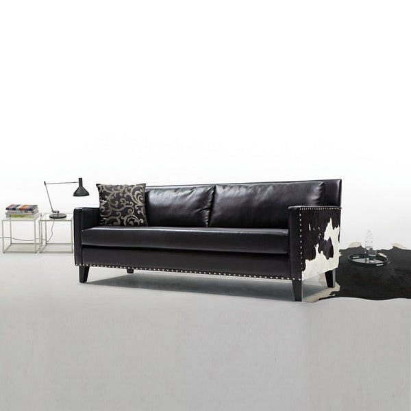 ... Dallas Sofa In Black Leather And Real Cowhide Side Panels ...