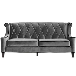 Sofas - Armen Living LC8443GRAY Barrister Sofa In Gray Velvet With Black Piping | 608938468543 | Only $1397.00. Buy today at http://www.contemporaryfurniturewarehouse.com