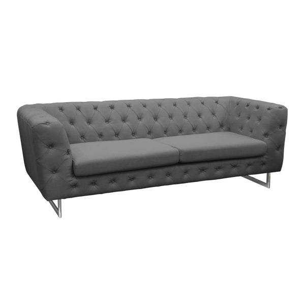 Catalina Tufted Sofa With Metal Leg In Grey Fabric