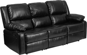 Sofas - Flash Furniture BT-70597-SOF-GG Harmony Series Black Leather Sofa with Two Built-In Recliners | 889142083528 | Only $524.80. Buy today at http://www.contemporaryfurniturewarehouse.com