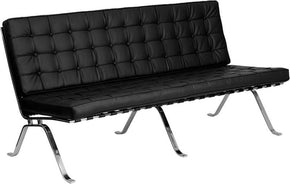 Flash Series Black Leather Sofa With Curved Legs