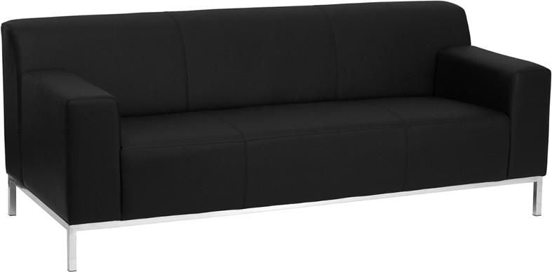 Definity Series Contemporary Black Leather Sofa With Stainless Steel Frame
