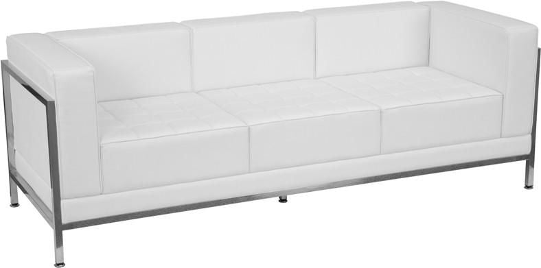 Buy Flash Furniture ZB-IMAG-SOFA-WH-GG Imagination Series Contemporary  Leather Sofa with Encasing Frame at Contemporary Furniture Warehouse