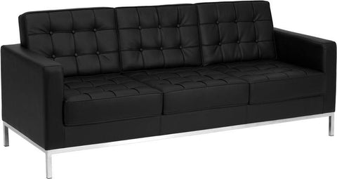 Lacey Series Contemporary Leather Sofa With Stainless Steel Frame Black