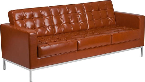Lacey Series Contemporary Leather Sofa With Stainless Steel Frame Cognac