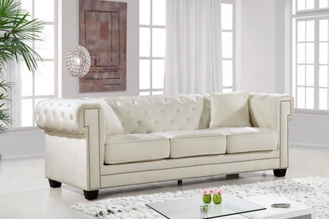 Sofas - Meridian 614Cream-S Bowery Cream Velvet Sofa | 647899945366 | Only $1099.80. Buy today at http://www.contemporaryfurniturewarehouse.com