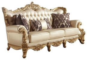 Bennito French Provincial Gold Pearl Leather Sofa