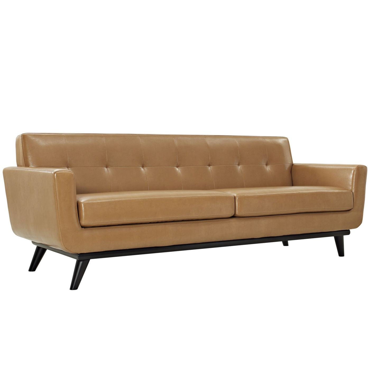 Engage Mid Century Modern Bonded Leather Sofa Tan ...