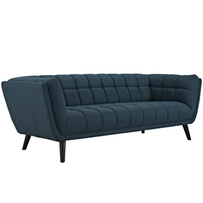 Bestow Chic Luxe Upholstered Modern Fabric Sofa Blue