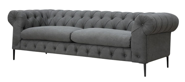 Canal Sofa Grey Cotton Polyester Blend Solid Pine Wood
