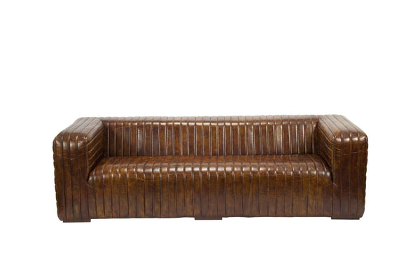Castle Sofa Brown Top Grain Leather Solid Birch Wood Frame