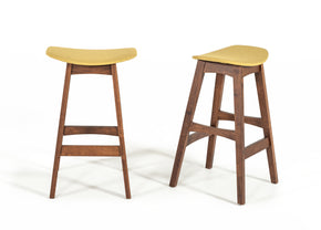 Vig Furniture VGMAMI-575-GLD Modrest Steed Modern Yellow & Walnut Bar Stool (Set of 2)