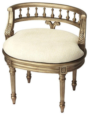 Stools - Butler Furniture BUT-1218190 Hathaway Traditional Oval Vanity Seat Silver | 797379029748 | Only $459.00. Buy today at http://www.contemporaryfurniturewarehouse.com