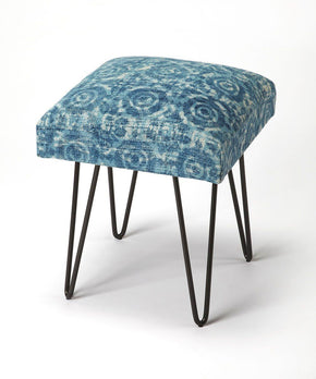 Faded Denim Modern Square Stool Blue