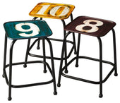 Trio Modern Industrial Square Stool Set Assorted Colors