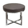 Ritz Round Accent Stool with Padded Seat in Elephant Grey Bonded Leather and Polished Stainless Steel Base