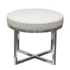 Ritz Round Accent Stool with Padded Seat in White Bonded Leather and Polished Stainless Steel Base
