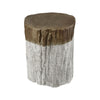 Sutter's Fort Stool Whitewash & Natural Bark