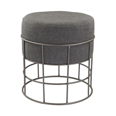 Pewter And Grey Linen Stool Pewter,grey