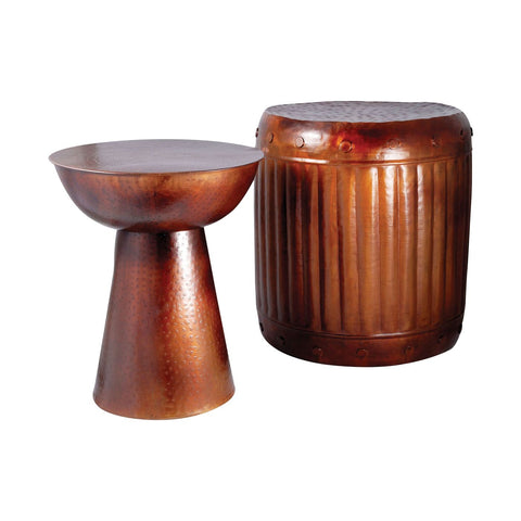 Truffle Set Of 2 Table And Barrel Stool French Antique Copper