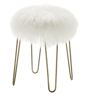 Zelda White Sheepskin Stool With Gold Colored Legs