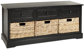 Damien 3 Drawer Storage Bench Distressed Black / Organization