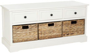 Damien 3 Drawer Storage Bench Distressed Cream / Organization
