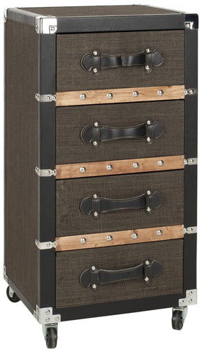 Brent 4 Drawer Rolling Chest/black-Brown-Silver Black-Brown-Silver Storage / Organization