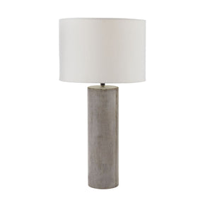 Cubix Round Desk Lamp In Natural Concrete Table