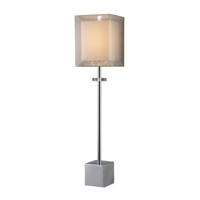 Exeter Table Lamp In Chrome With Double-Framed Shade