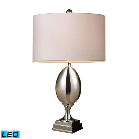 Waverly Led Table Lamp In Chrome Plated Glass With Milano Pure White Shade