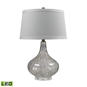 Clear Water Glass Led Table Lamp With White Linen Shade