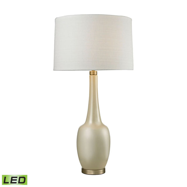 Modern Vase Ceramic Led Table Lamp In Cream Cream,antique Brass