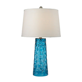 Hammered Glass Table Lamp In Blue With Pure White Linen Shade